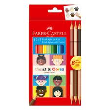 Lapis 12+3 Caras e Cores Sextavado Faber Castell