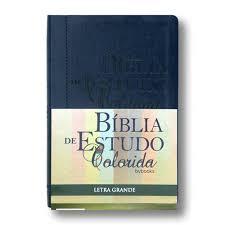 Bíblia de Estudo Colorida Luxo Grande Azul