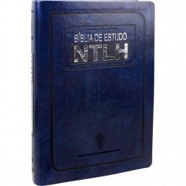 Bíblia de Estudo NTLH Luxo Media Azul