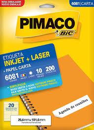 Etiquetas Inkjet+Laser 10 fls Pimaco Código 6081