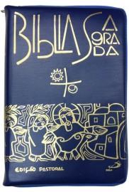 Biblia Edicao Pastoral Media Ziper Azul