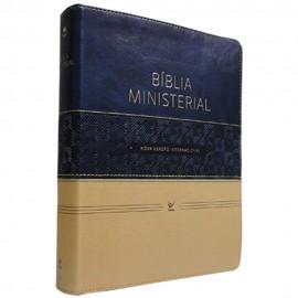 Bíblia de Estudo Ministerial Luxo Azul e Bege C/ Índice