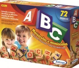 Brinquedo Pedagógico Madeira ABC Maíusculas/Minusculas  72 Peças