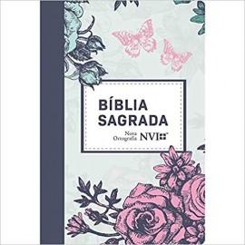 Biblia NVI - Brochura Luxo Capa Lilas Floral