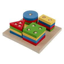 Brinquedo Pedagogico Madeira Prancha Selecao Peq 16pcs Geometricas