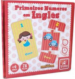 Brinquedo Pedagógico Madeira Primeiros Números em Inglês 78P