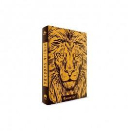 Bíblia Jesus Copy Leão Luxo Preta e Dourado