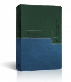 Bíblia Bilíngue NVI - Tam Grande - Capa Luxo Verde e Azul