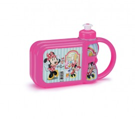 Lancheira c/ Garrafa Minnie Mouse Kit Lanche Plasduran