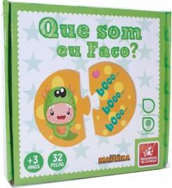 Brinquedo Pedagógico Madeira que Som Eu Faço 32 Peças Brincadeira de Criança