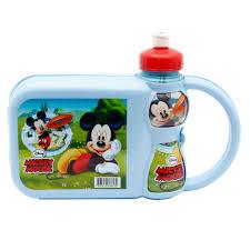 Lancheira c/ Garrafa Mickey Mouse Kit Lanche Plasduran