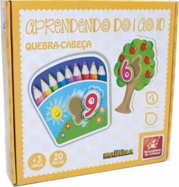 Brinquedo Pedagógico Madeira Quebra Cabeça Números 1 ao 10