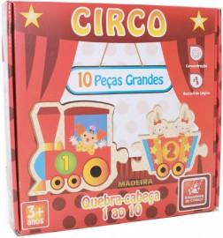 Brinquedo Pedagógico Madeira Trem 1 Ao 10 do Circo Brincadeira de Criança