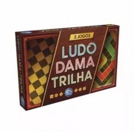 Jogo de Tabuleiro 3 Jogos - Ludo - Dama - Trilha