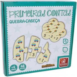 Brinquedo Pedagogico Madeira Primeiras Contas 48PÇ