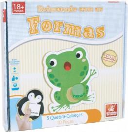 Brinquedo Pedagógico Madeira Brincando com as Formas 10 Peças Brincadeira De Criança