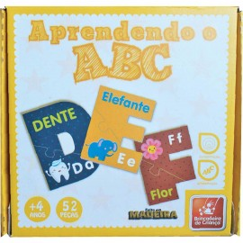 Brinquedo Pedagogico Madeira Aprendendo o ABC 51PÇ