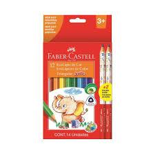 Lapis 12 Cores Jumbao Longo + 2 Preto Faber Castell