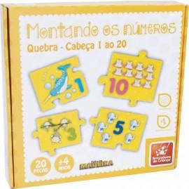 Brinquedo Pedagógico Madeira Montando os Números 1 ao 20 - 20 Peças