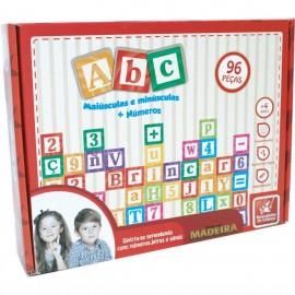 Brinquedo Pedagógico Madeira Letras/Números/Sinais/96PÇ