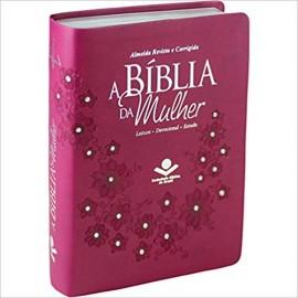 Bíblia da Mulher RC - Media - Capa Luxo - Flores Vinho